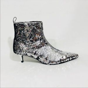 955f3351ba3 Zara Silver Sequined Kitten Heeled Ankle Boot